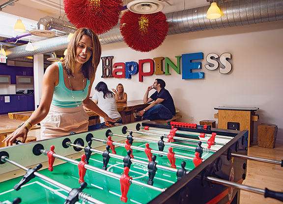 "The first floor of the G Adventures office has a foosball, a Ping-Pong table and popcorn machines to ""distract"" employees. The founder believes his staff are less productive when they work too hard, because their focus becomes very narrow."